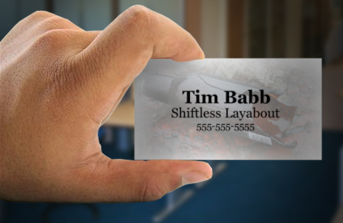 High five unemployed business cards tancast tim babb shiftless layabout colourmoves